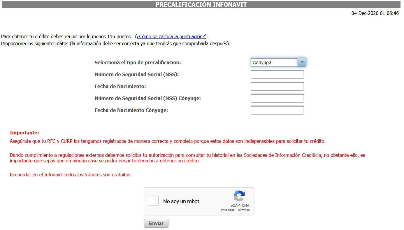 precalificación de crédito infonavit conyugal